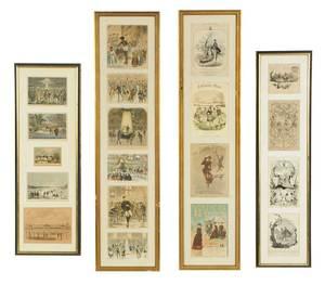 Nineteen Skating-Related Prints, Framed