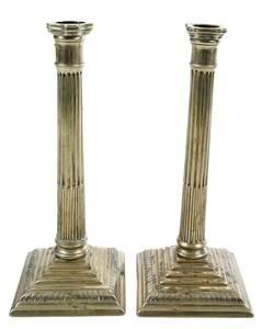 Pair George III Brass Candlesticks