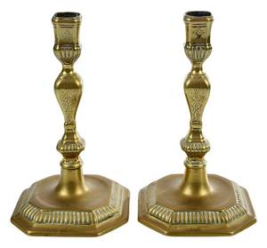 Fine Pair William and Mary Brass Candlesticks