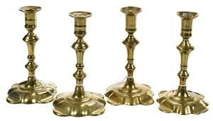 Two Pairs George III Brass Candlesticks