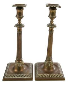 Pair Chippendale Columnar Candlesticks