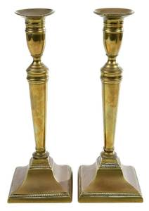 Pair Tall George III Beaded Brass Candlesticks