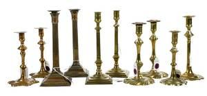 Ten 18th Century Brass Candlesticks, Some Signed