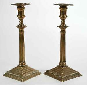 Fine Pair Bell Metal Columnar Candlesticks