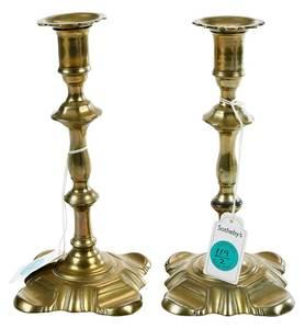 Pair Queen Anne Petal Base Candlesticks