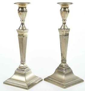 Fine Pair George III Paktong Candlesticks