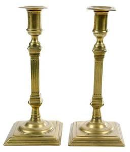 Pair of George II Brass Candlesticks