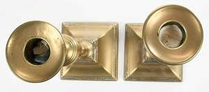 Pair Push Up Brass Tapering Candlesticks