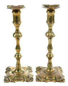 Fine Pair George II Four Shell Candlesticks
