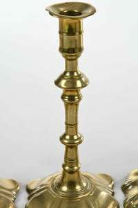 Two Pair Georgian Brass Candlesticks