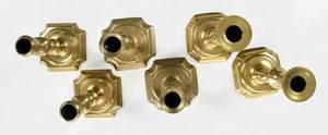Three Pairs Georgian Brass Candlesticks