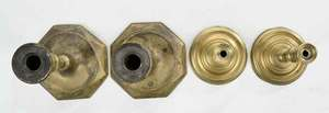 Two Pairs Miniature Brass Tapersticks