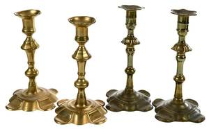 Two Pairs Georgian Petal Base Candlesticks