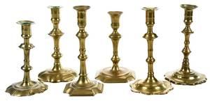 Six Georgian Brass Candlesticks