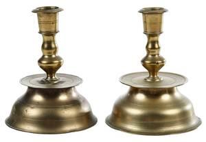Rare Near Pair Early Brass European Candlesticks