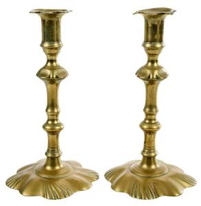 Pair Swirl Petal Base Candlesticks