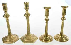 Two Pairs Tall Brass Chippendale Candlesticks