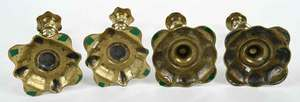 Two Fine Pairs George II Brass Candlesticks