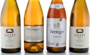Four Vintage Bottles California Chardonnay, Napa, Edna