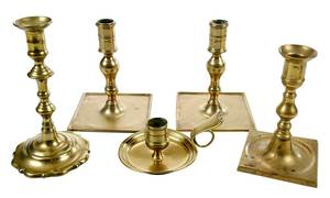 Five Early Brass Candlesticks