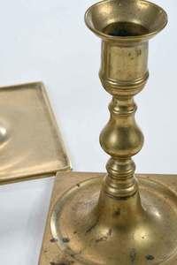 Five Early Brass Candlesticks