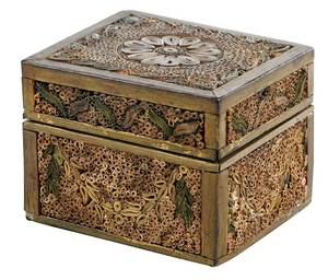 George III Gilt Heightened Paper Scroll Box