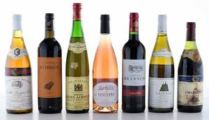Seven Vintage French Red and White Wines