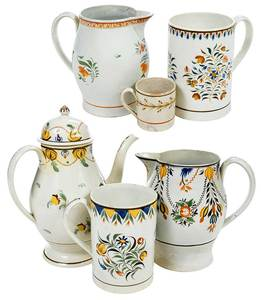 Seven Pieces English Staffordshire Pottery