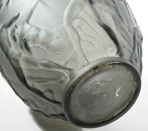 R. Lalique Archers Gray Glass Vase