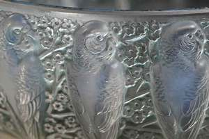 R. Lalique Perruches Opalescent Glass Bowl