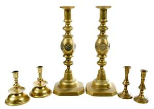 Six Brass Candle and Tapersticks