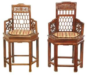 Two Similar Chinese Carved Armchairs