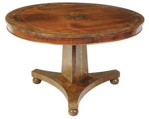 Regency Brass Inlaid Rosewood Center Table