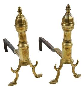 Pair Early Miniature Brass Andirons