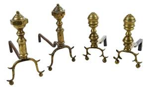 Two Pairs Miniature Federal Brass Andirons
