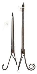 Two Pairs Early Wrought Iron Spring Pipe Tongs