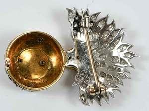 Platinum, 14kt. Gold and Diamond Brooch