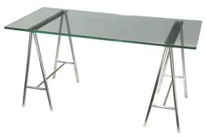 Aluminum Glass Top Sawhorse Desk