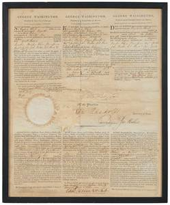 Signed George Washington Document 1795