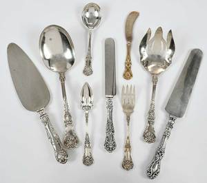 38 Pieces Sterling Shell Handle Flatware
