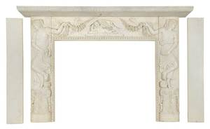Neoclassical Carrara Marble Fireplace Surround