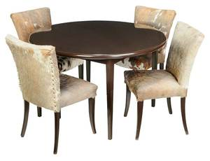 Round Lacquer Table and Four Cowhide Side Chairs