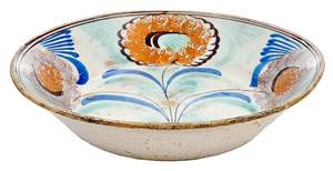 Paint Decorated Floral Earthenware Bowl