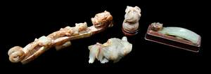 Four Chinese Hardstone Objects with Wood Stand