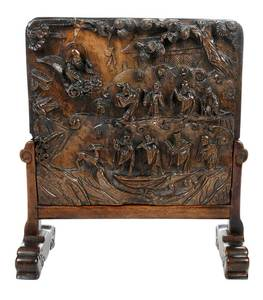 Chinese Carved Stone Table Screen