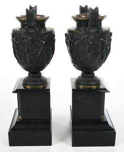 Pair Grand Tour Marble Base Bronze Urns