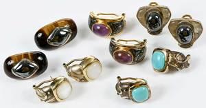 Five Pairs Silver Kylo Earrings