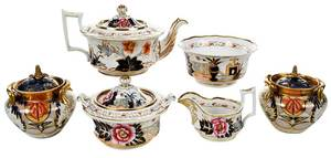 British Ironstone Tea Set, Potpourri Vases