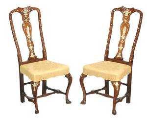 Pair Dutch Queen Anne Ivory Inlaid Side Chairs