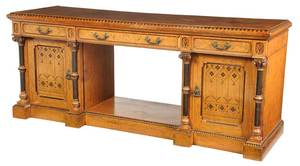Gothic Revival Burl and Ebonized Sideboard